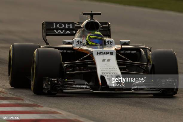 The Force India of Sergio Perez during the Formula 1 tests held in action during the Formula One winter testing at Circuit de Catalunya on March 10...