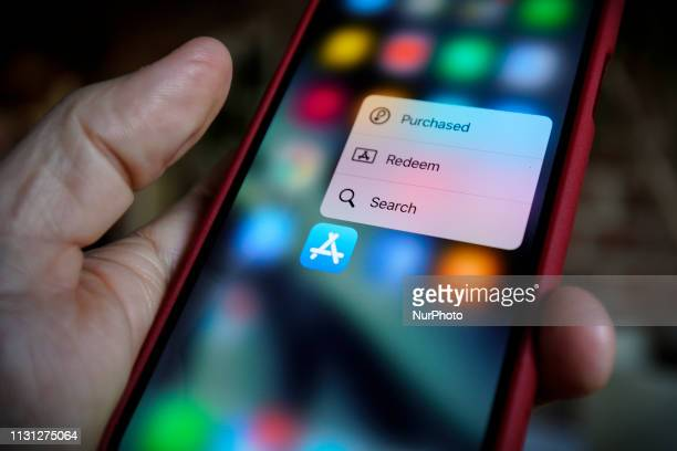The Force Touch dialogue is seen on an iPhone screen when used with the App Store application in this photo illustration on March 17, 2019 in Warsaw,...