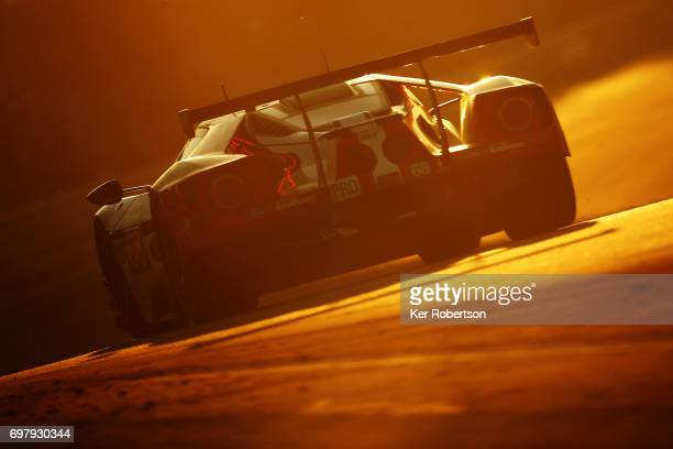 The Ford Chip Ganassi of Joey Hand Tony Kanaan and Dirk Muller drives during the Le Mans 24 Hours race at the Circuit de la Sarthe on June 18 2017 in...