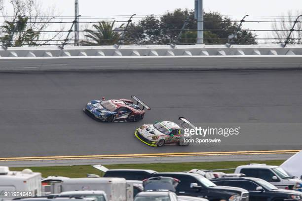 The Ford Chip Ganassi Racing IMSA Ford GT of Sébastien Bourdais Joey Hand and Dirk Müller and the Manthey Racing Porsche 911 GT3 R of Matteo Cairoli...