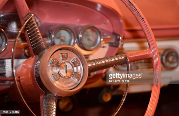 The Ford Edsel's infamous pushbutton Teletouch transmission shifting system in the center of the steering wheel is on display at The Museum of...