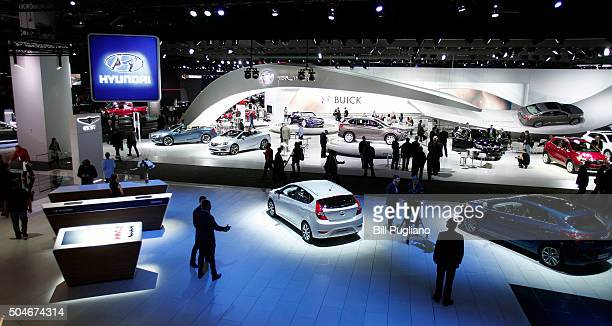 DETROIT MI The Ford exhibit is shown at the 2016 North American International Auto Show January 12th 2016 in Detroit Michigan The NAIAS runs from...