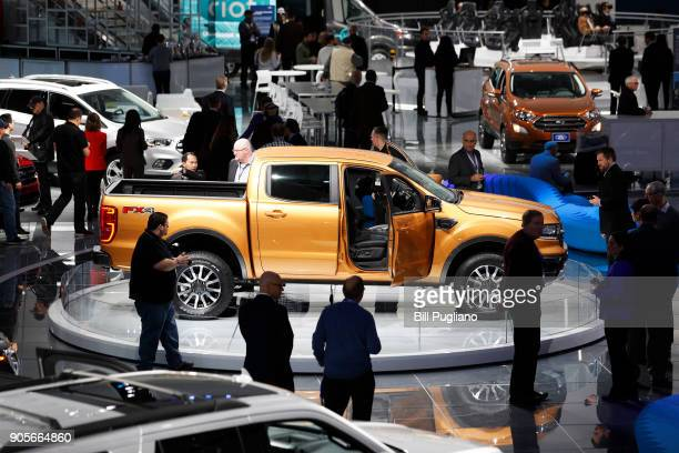 The Ford exhibit is shown at the 2018 North American International Auto Show January 16 2018 in Detroit Michigan More than 5100 journalists from 61...
