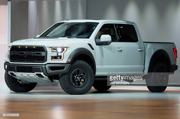 The Ford F150 Raptor is unveiled during the Ford press conference at the North American International Auto Show in Detroit Michigan January 11 2016...