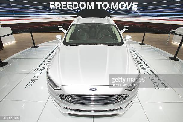 The Ford Fusion Autonomous car is displayed at the 2017 North American International Auto Show in Detroit Michigan January 10 2017 / AFP / Geoff...