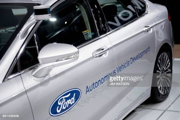 The Ford Fusion autonomous vehicle is shown during the 2017 North American International Auto Show in Detroit Michigan January 10 2017 / AFP PHOTO /...