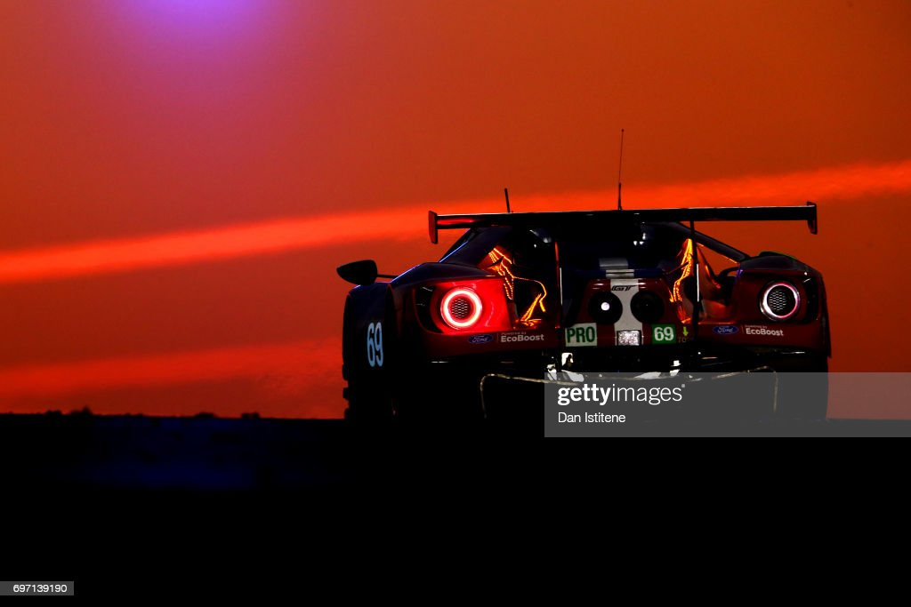 The Ford Ganassi of Ryan Briscoe, Scott Dixon and Richard Westbrook drives during the Le Mans 24 Hour Race at Circuit de la Sarthe on June 18, 2017 in Le Mans, France.