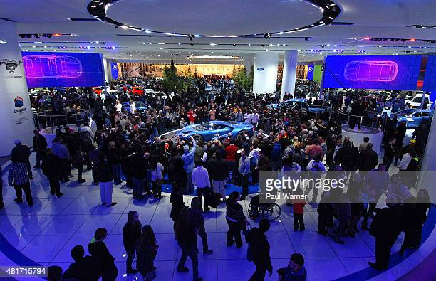 The Ford GT is displayed during the opening day of the 2015 North American International Auto Show at Cobo Center on January 17, 2015 in Detroit,...
