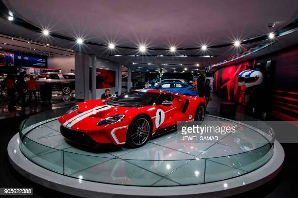 The Ford GT is pictured during the press preview at the 2018 North American International Auto Show in Detroit Michigan on January 16 2018 Car makers...
