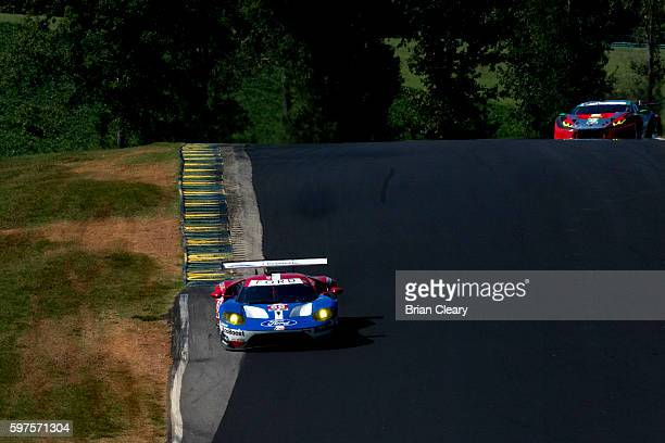 The Ford GT of Dirk Muller of Germany and Joey Hand races on the track during the IMSA WeatherTech Series race at Virginia International Raceway on...