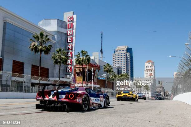 The Ford GT of Joey Hand and Dirk Mueller of Germany races down a straightaway during the IMSA Bubba Burger Grand Prix of Long Beach on April 14 2018...