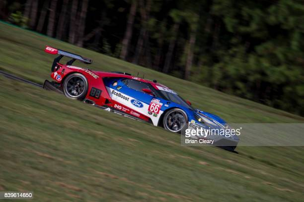 The Ford GT of Joey Hand and Dirk Mueller of Germany races on the track during practice for the Michelin GT Challenge IMSA WeatherTeach SportsCar...