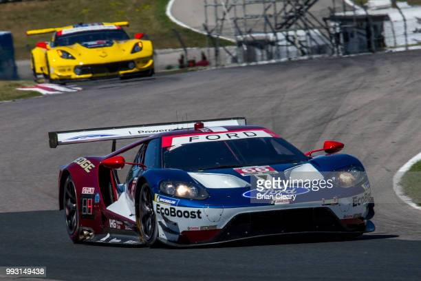 The Ford GT of Joey Hand and Dirk Mueller of Germany races on the track during practice for the IMSA WeatherTech Series race at Canadian Tire...