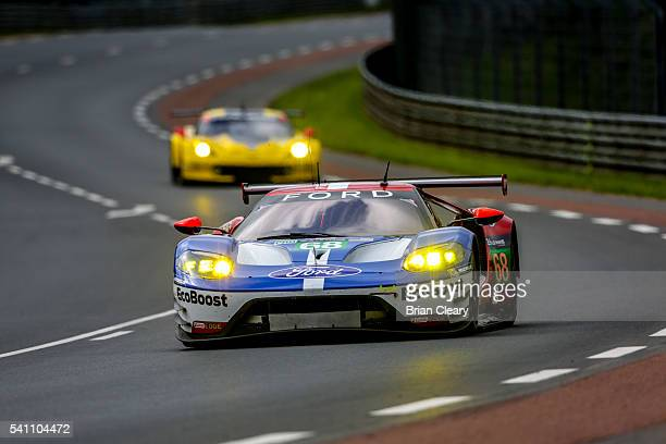 The Ford GT of Joey Hand Dirk Muller of Germany and Sebastien Bourdais of France races on the track during the 24 Hours of Le Mans on June 18 2016 in...
