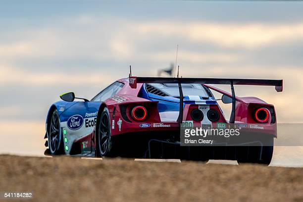 The Ford GT of Ryan Briscoe of Australia Richard Westbrook of Great Brtiain and Scott Dixon of New Zealand races on the track during the 24 Hours of...