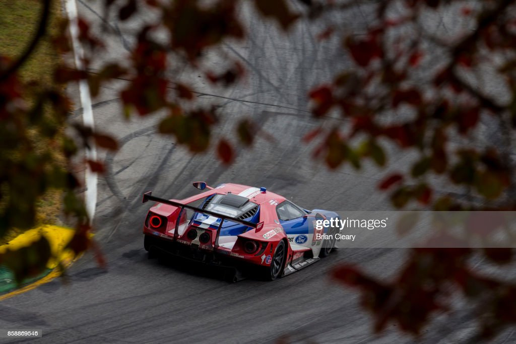 The #67 Ford GT of Ryan Briscoe, of Australia, Richard Westbrook, of Great Britain, and Scott Dixon of New Zealand, races on the track during the Motul Petit Le Mans at Road Atlanta on October 7, 2017 in Braselton, Georgia.