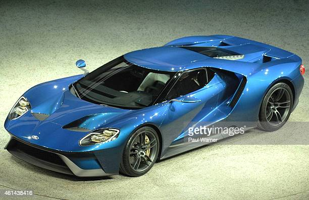 The Ford GT Supercar is seen at the Ford press conference at Cobo Center on January 12 2015 in Detroit Michigan