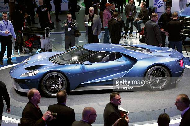 The Ford GT350 is displayed at the 2015 North American International Auto Show on January 13, 2015 in Detroit, Michigan. More than 5000 journalists...