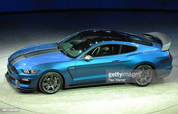 The Ford GT350R is seen during the Ford Press conference at Cobo Center on January 12 2015 in Detroit Michigan