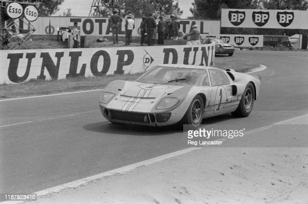 The Ford GT40 Mk II Team Shelby American driven by English racing driver Ken Miles and New Zealand racing driver Denny Hulme at the 24 Hours of Le...