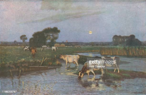 The Ford' late 19thearly 20th century Cows drinking in a shallow river at dusk Painting in the Gallery Oldham Greater Manchester From Modern...