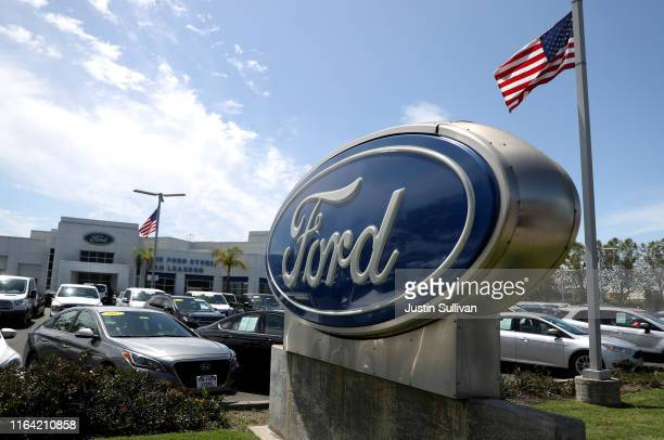 The Ford logo is displayed on the sales lot at The Ford Store San Leandro on July 25 2019 in San Leandro California The State of California and four...