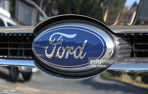 The Ford logo is seen on a brand new Ford truck at Serramonte Ford on April 27 2012 in Colma California Ford Motor Co reported a first quarter loss...