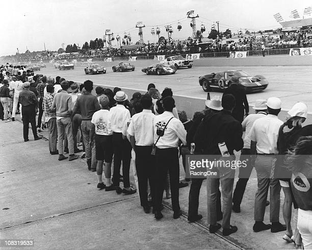 The Ford MKIIB of A J Foyt and Lloyd Ruby lead the way just after the start of the 12 Hours of Sebring at Sebring International Raceway
