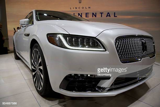 The Ford Motor Co 2017 Lincoln Continental vehicle sits on display after being unveiled during the 2016 North American International Auto Show in...