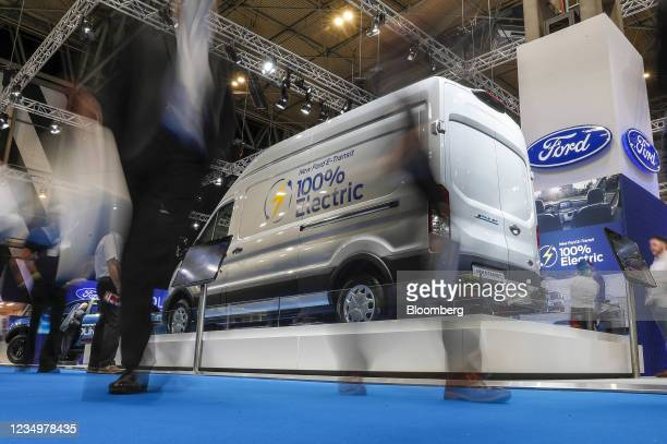 The Ford Motor Co. E-Transit electric van during the Commercial Vehicle Show 2021 in Birmingham, U.K., on Tuesday, Aug. 31, 2021. Britain became the...