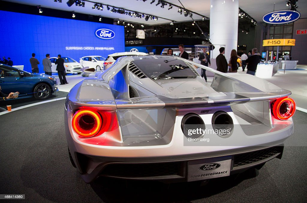 The Ford Motor Co. GT vehicle displayed during the 2015 New York International Auto Show in New York, U.S., on Thursday, April 2, 2015. The 115th New York International Auto Show, which runs from April 3-12, will reveal 60 plus cars and trucks as well as host a wide range of industry events attracting automobile executives and members of the media from around the world. Photographer: Michael Nagle/Bloomberg via Getty Images