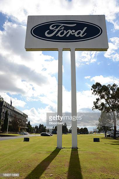 The Ford Motor Co. Logo is displayed on signage outside the company's Australia head office in Melbourne, Australia, on Thursday, May 23, 2013. Ford...