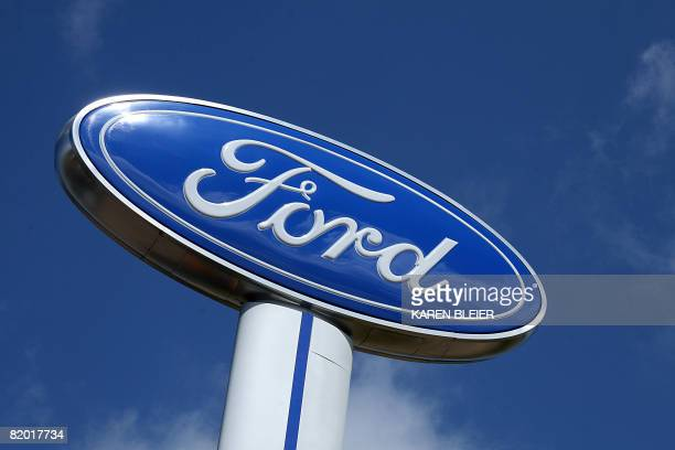 The Ford Motor Company logo is seen July 20, 2008 at a dealership in Hudson, Wisconsin. AFP PHOTO/Karen BLEIER