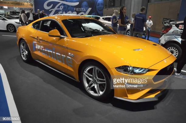The Ford Mustang is displayed during the Vienna Autoshow as part of Vienna Holiday Fair on January 10 2018 in Vienna Austria The Vienna Autoshow will...