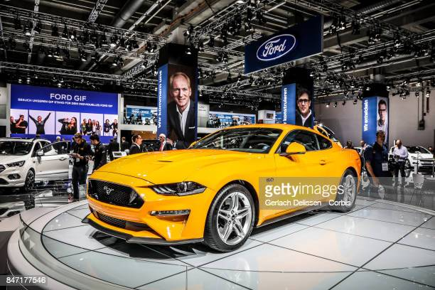 The Ford Mustang on display at the 2017 Frankfurt Auto Show 'Internationale Automobil Ausstellung' on September 13 2017 in Frankfurt am Main Germany