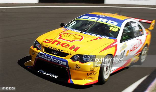 The Ford of David Brabham and Owen Kelly of the Shell Helix Racing Team in action during practice for the Bathurst 1000, which is round ten of the...