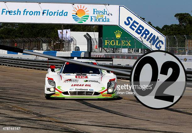 The Ford Riley of Scott Dixon, Tony Kanaan and Sage Karam comes in for servicing on pit road during practice for the 12 Hours of Sebring at Sebring...