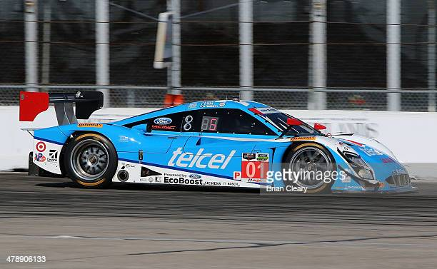 The Ford Riley of Scott Pruett Memo Rojas and Marino Franchitti is shown in action during the 12 Hours of Sebring at Sebring International Raceway on...