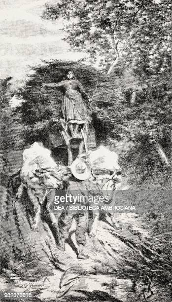 The ford young woman on a cart pulled by oxen engraving from a painting by Francesco Gioli drawing by Edoardo Ximenes from L'Illustrazione Italiana...