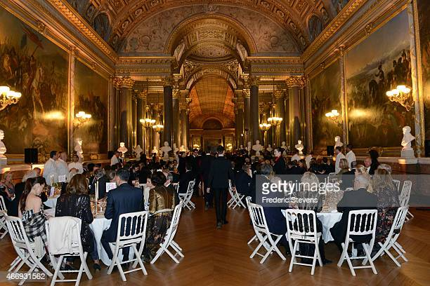 The foreign ambassadors in Paris enjoy the Gout de France/Good France dinner in the Galerie des Batailles of the Versailles castle on March 19 2015...