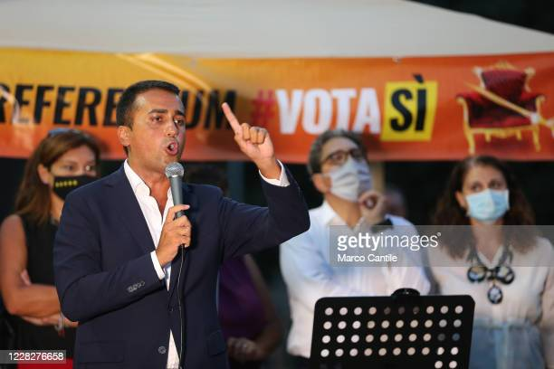 The Foreign Minister and politician of the 5 Star Movement, Luigi Di Maio, during a rally to support the Yes to the next Constitutional Referendum in...