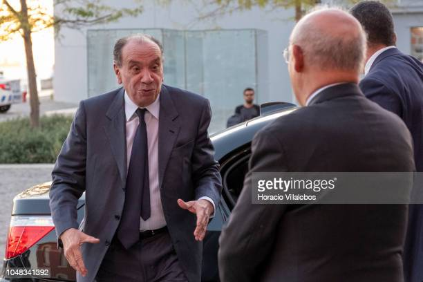 The Foreign Minister of Brazil Aloysio Nunes is greeted by Portuguese Foreign Minister Augusto Santos Silva upon his arrival to participate of the...