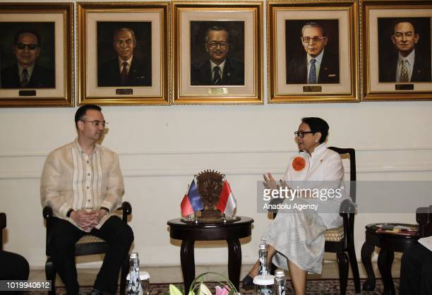 The Foreign Minister of Indonesia Retno Marsudi talks with the Foreign Minister of Philippines Alan Peter Cayetano during bilateral meeting at the...