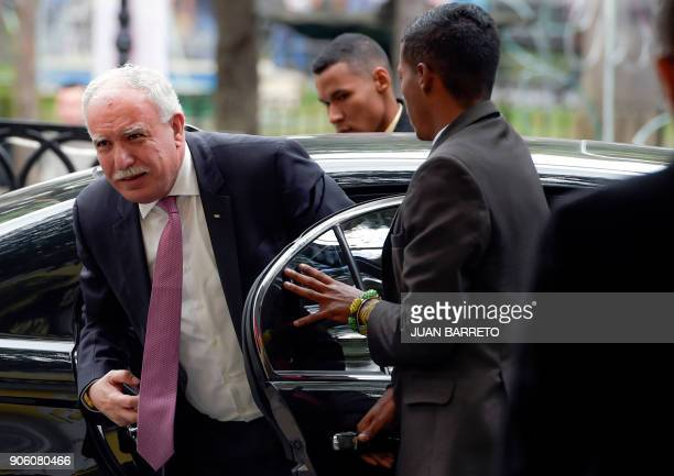 The Foreign Minister of the Palestinian Authority Riyad alMalk arrives at the Venezuelan Foreign Ministry in Caracas to meet with Minister Jorge...