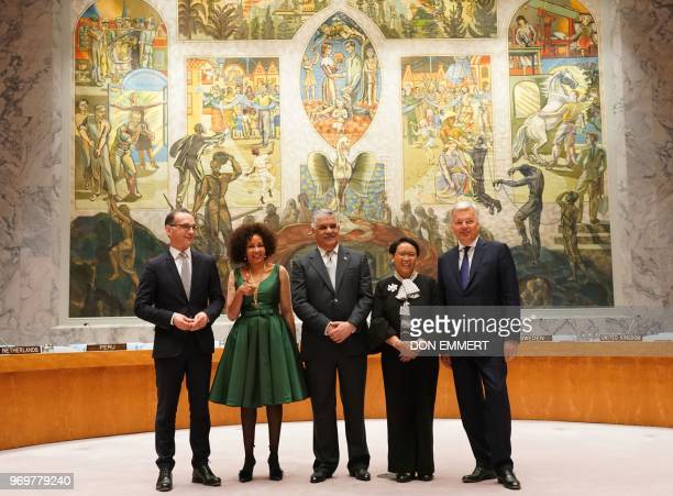 The Foreign Ministers from Germany Heiko Maas South Africa Lindiwe Sisulu Dominican Republic Miguel Vargas Indonesia Retno Marsudi and Belgium Didier...