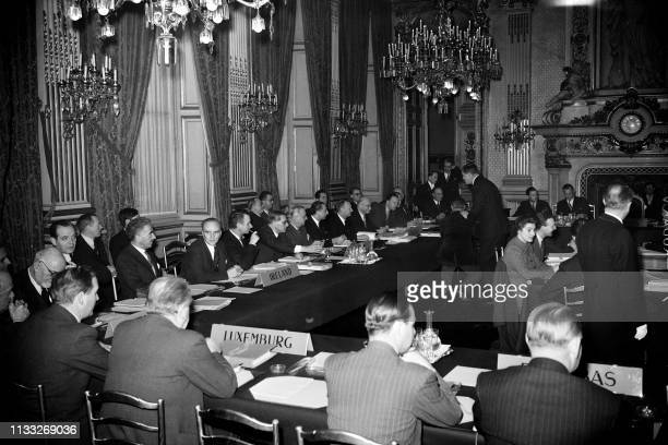 The Foreign Ministers of the twelve Western Europe countries meet on November 03, 1949 in the Clock room of the Ministry of Foreign Affairs at the...