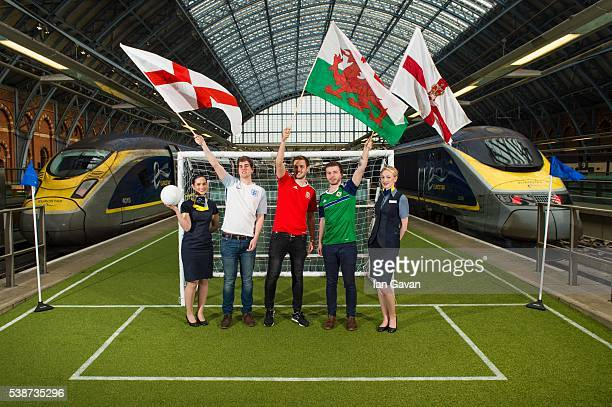 The Foreign Office and Eurostar roll out the green carpet as London's St Pancras station is turned into a football pitch to wish supporters a safe...