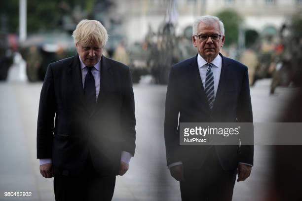 The Foreign Secretary Boris Johnson and Jacek Czaputowiczvisit Warsaw Poland on June 21 2018 to meet with Polish minister of defence Mariusz Blasczak...