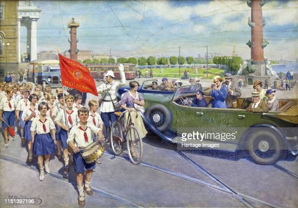 The foreign tourists in Leningrad. Found in the Collection of State Museum- and exhibition Centre ROSIZO, Moscow.