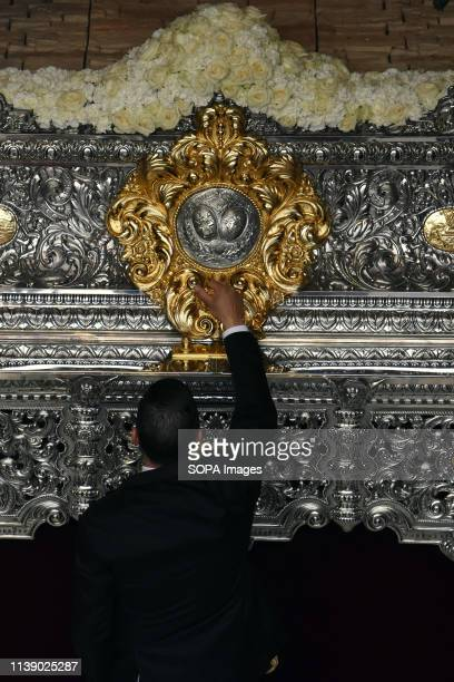 L´HOSPITALET CATALONIA SPAIN The foreman of the brotherhood 15 1 seen next to the Virgin of the Remedies during the parade Easter Parade 2019...